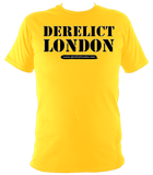 orange unisex t-shirt with Derelict London logo