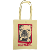 sand coloured tote bag with bulldog bollocks print