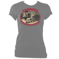 "grey woman's fitted cat tee with slogan ""pawsome, it's wine o'clock"""