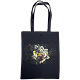 navy tote bag with distressed rose print