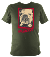 military green unisex t-shirt with bulldog bollocks print