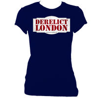 navy blue women's fitted t-shirt with Derelict London logo