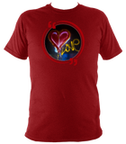 Red unisex t-shirt with graffiti love heart art work