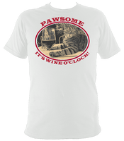 "white unisex t-shirt with cat saying ""Pawsome, it's wine o'clock"""