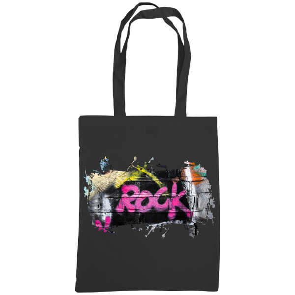 black tote bag with graffiti rock print
