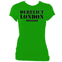 green women's fitted t-shirt with Derelict London logo