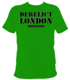 green unisex t-shirt with Derelict London logo