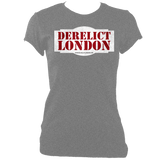 grey blue women's fitted t-shirt with Derelict London logo
