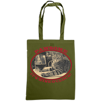 "olive tote bag with cat and slogan ""Pawsome It's wine o'clock"""