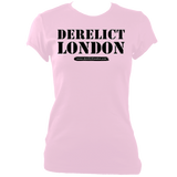 pink women's fitted t-shirt with Derelict London logo