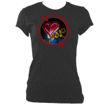 Dark heather woman's fitted t-shirt with graffiti love heart motif