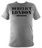 grey unisex t-shirt with Derelict London logo
