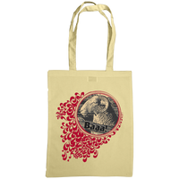natural tote bag with quirky sheep print