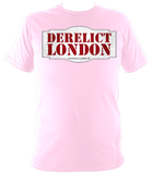 pink unisex t-shirt with Derelict London logo
