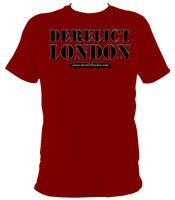 red unisex t-shirt with Derelict London logo