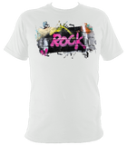 white unisex t-shirt with graffiti rock motif