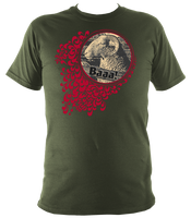 military green unisex t-shirt with quirky sheep print