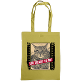 caramel coloured you talkin'n to me slogan with cat tote bag