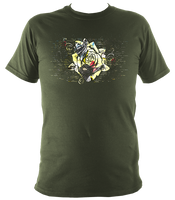 military green unisex t-shirt with distressed rose print