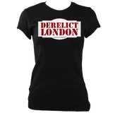 black women's fitted t-shirt with Derelict London logo