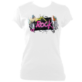 white women's fitted t-shirt with graffiti rock print