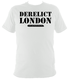 white unisex t-shirt with Derelict London logo