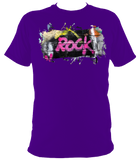 purple unisex t-shirt with graffiti rock motif