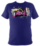 navy blue unisex t-shirt with graffiti rock motif