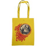 sunflower yellow tote bag with quirky sheep print