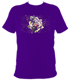 purple unisex t-shirt with distressed rose print