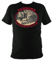 "black unisex t-shirt with cat saying ""Pawsome, it's wine o'clock"""
