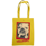 sunflower yellow tote bag with bulldog bollocks print