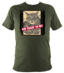 military green unisex t-shirt with slogan you talkin' to me?