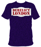 indigo blue unisex t-shirt with Derelict London logo