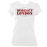 white blue women's fitted t-shirt with Derelict London logo