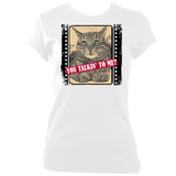 "white woman's fitted slogan t-shirt ""you talkin to me?"" with cat"