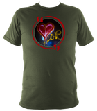 Military green unisex t-shirt with graffiti love heart art work