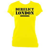 yellow women's fitted t-shirt with Derelict London logo