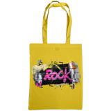 gold tote bag with graffiti rock print