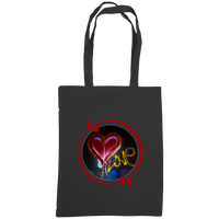 Black tote bag with graffiti heart art work