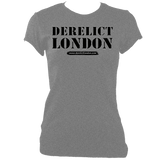grey women's fitted t-shirt with Derelict London logo