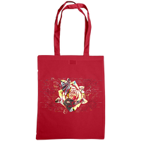 red tote bag with distressed rose print
