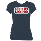 indigo blue women's fitted t-shirt with Derelict London logo