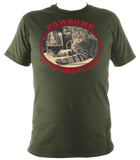 "military green unisex t-shirt with cat saying ""Pawsome, it's wine o'clock"""