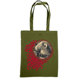 olive green tote bag with quirky sheep print