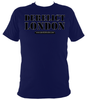dark blue unisex t-shirt with Derelict London logo