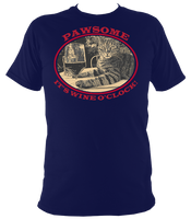 "blue unisex t-shirt with cat saying ""Pawsome, it's wine o'clock"""