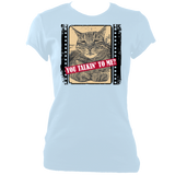 "blue woman's fitted slogan t-shirt ""you talkin to me?"" with cat"