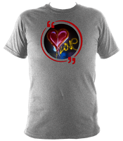 Grey unisex t-shirt with graffiti love heart art work