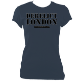 indigo women's fitted t-shirt with Derelict London logo
